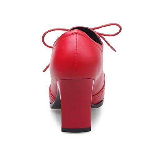 Rouge Lacets De Taoffen 5 Pointue Bottes Cheville Femmes qZqYIz