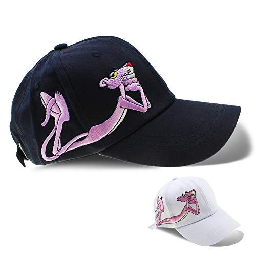 Women Cotton/Embroidered Caps Butterfly Hat Baseball Sport Golf Adjustable Sun Hat Baseball Running Cap Sunhat (Pink Panther Black)