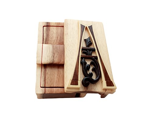 Letter A Initial Hand-Carved Puzzle Box with No Paints! No Stains! Hidden Felt Lined Interior That hides Jewelry, Gift Cards, or Money. No Two Will Ever be Identical! Pet Carvers (Hand Carved Jewelry)