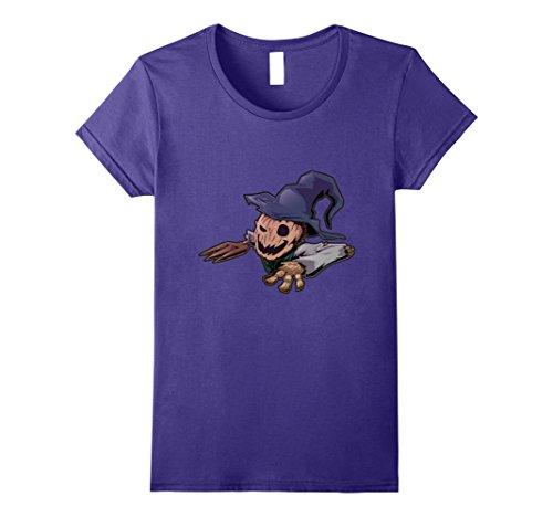 Womens Scary Halloween Scarecrow Head T-Shirt - Spooky Creepy 2017 XL Purple