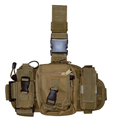 Army Tan Tactical Molle Drop Leg Mag Medic Utility Pouch Thigh ()