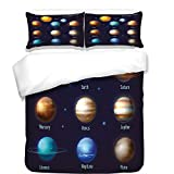 iPrint 3Pcs Duvet Cover Set,Educational,Solar System Planets and The Sun Pictograms Set Astronomical Colorful Design,Multicolor,Best Bedding Gifts for Family/Friends