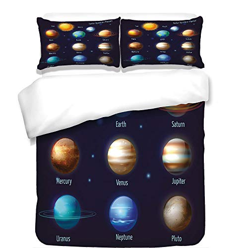 iPrint 3Pcs Duvet Cover Set,Educational,Solar System Planets and The Sun Pictograms Set Astronomical Colorful Design,Multicolor,Best Bedding Gifts for Family/Friends by iPrint