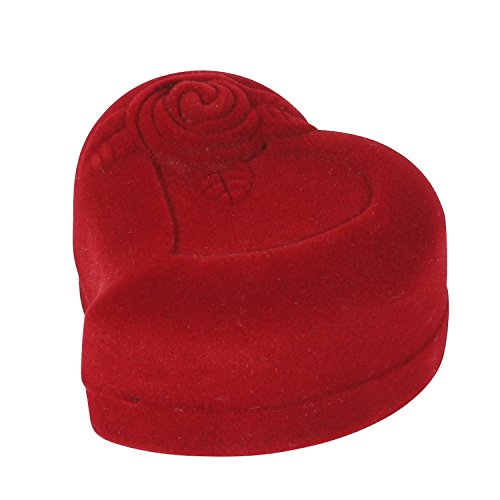 (I-MART Heart-Shaped Red Rose Jewelry Gift Box Case for Ring Earring)
