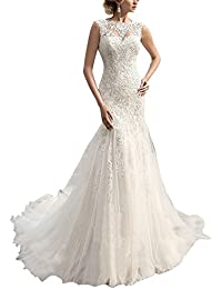 Lace Beading Sleeveless Mermaid Long Wedding Dress Bridal Gown