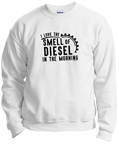 Trucker Gifts for Trucker I Love the Smell of Diesel in the Morning Trucker Crewneck Sweatshirt Small White