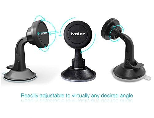 iVoler Supporto Magnetico Auto Universale Adesivo su Cruscotto Parabrezza, Porta Cellulare Auto Ventosa 360 Gradi di Rotazione per IPhone 7 / 7plus / 6 / 6plus /5 /5S / 5C, Samsung Galaxy S6 / S6 Edge