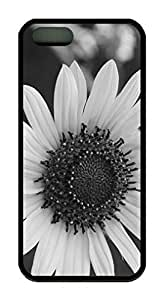 Black And White Daisy Flower Theme Case for IPhone 5s for kids Rubber Material Black