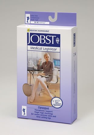 Jobst Opaque THIGH HIGH Extra Firm Compression 30-40 S - Silky Beige Open-Toe by Jobst