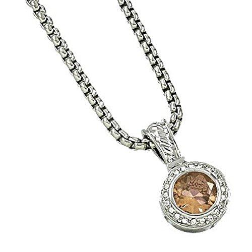 CFG ONLINE Round Topaz CZ Pendant Necklace/Standard 16