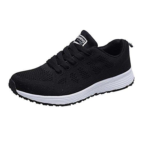 QUICKLYLY Zapatos Ocasionales de Las mujeresmanera Zapatillas Planas de Las Zapatillas de Deporte Negro