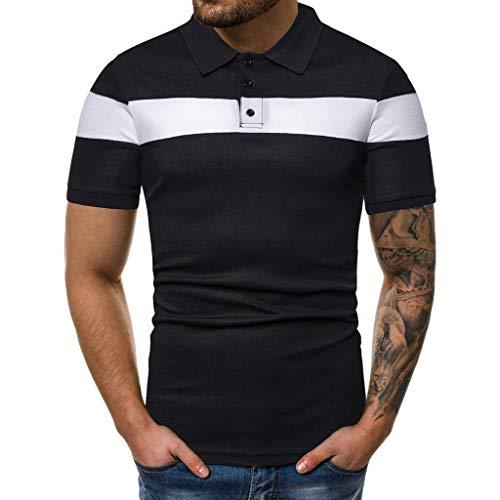 Big Sale! Fastbot Men's Solid Color Panel Short Sleeve Shirt Lapel Button Slim Business Office T-Shirt Top Black
