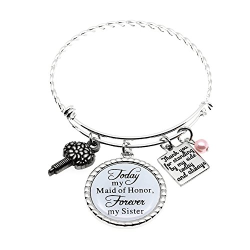 Ms.Clover Maid of Honor Gift, Bridesmaid Gift Always my Sister Bangle, Today My Maid of Honor Forever My Sister Gift Wedding Adjustable Bracelet ()