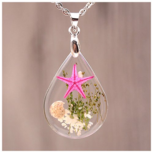 - HOOPEN Women Pendant Real Starfish Conch shell Underwater Plant Necklace Water Drop Chain Jewelry (Pink)
