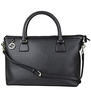 cbbf76c2e52a Gucci GG Charm Black Leather Large Convertible Straight Bag Shoulder Strap  449650 1000