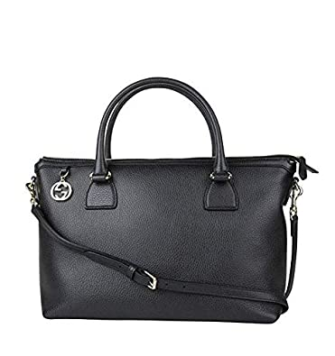 5d75c55d36ce Amazon.com: Gucci GG Charm Black Leather Large Convertible Straight Bag  Shoulder Strap 449650 1000: Shoes