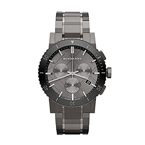 Burberry Chronograph Gunmetal Dial Grey Ion-plated Stainless Steel Mens Watch - Men Burberry Watch