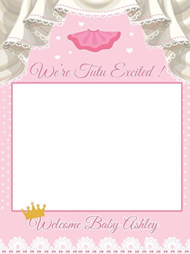 Custom Pink Princess Gold Crown Polka Dot Baby Shower Photo Booth Frame -Sizes 36x24, 48x36; Personalized Baby Shower Photo Frame Photo Prop, Tutu, girl; Handmade Baby Shower Banner - Online Face Frames