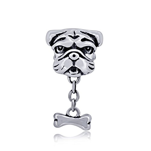 (The Kiss Pet Lover Dog Puppy Paw Family 925 Sterling Silver Bead Fits European Charm Bracelet (Shar-Pei Dog Bone Orange)