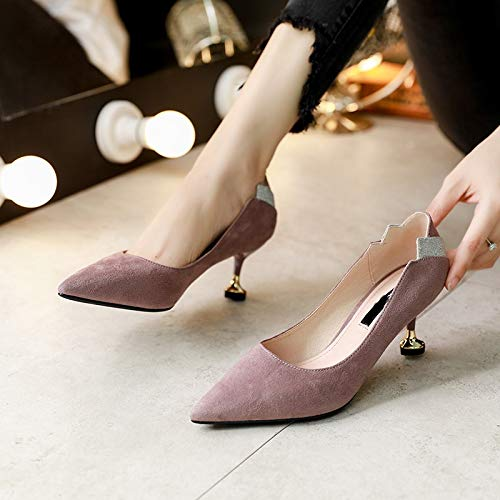 LBTSQ And 5Cm Shoes Single Shoes Heels Heads High Middle Heel Fine Jigs Thirty five Pointy Cat Coloring Heels rBrPwqE6O