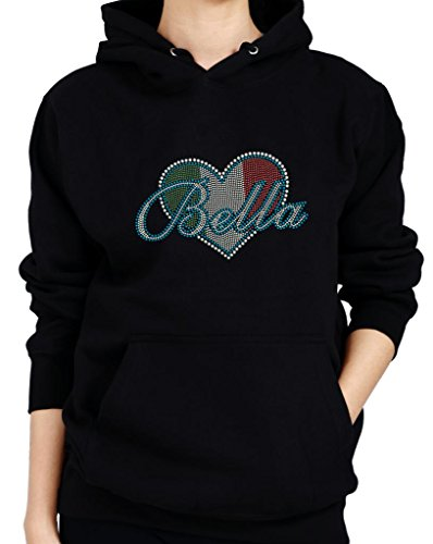 Italian Flag Heart (BELLA ITALIAN FLAG HEART Rhinestone Design Hoodie Sweatshirt)