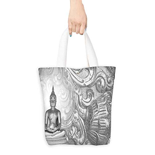 - Casual Shopping Tote BagStatue on Silver Ornamental Background Ancient Old Oriental Culture Monochromatic Art Deco Reusable 100% Eco Friendly W16.5 x H14 x D7 INCH