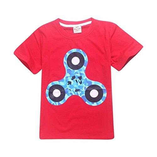 Price comparison product image Wensltd Fidget Spinner Premium T-shirt For Boys Children (6-7Y, Red)