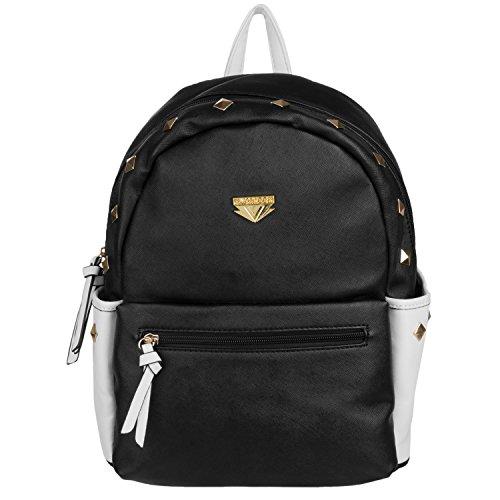 For Acer Netbook Aspire One Black Mini Rivets PU Leather Bookbag Travel Backpack
