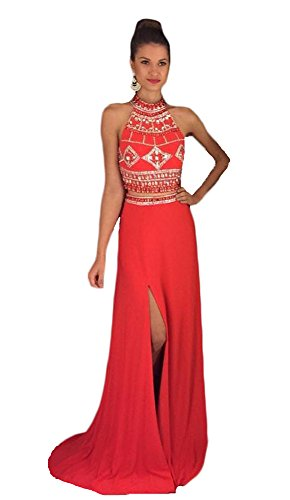 TBGirl New Halter 2 Piece Beaded Prom Dress Sexy Leg Open Long Party - Jeweled Halter Gown