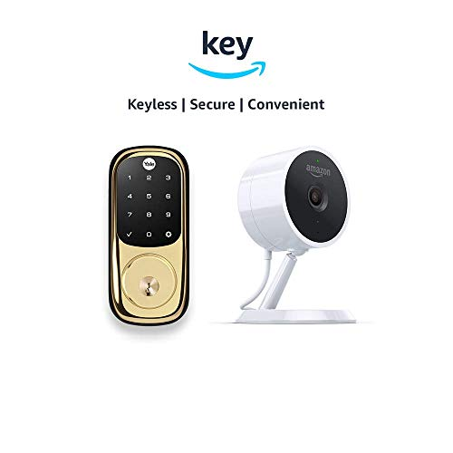 Yale Assure YRD226 Touchscreen Deadbolt + Amazon Cloud Cam | Key Smart Lock Kit (Polished Brass)
