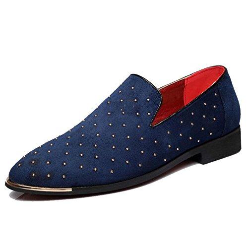 Mens Casuales Zapatos con Blue Zapatos Gamuza formales La HUAN Remaches Azul Negro Boda de Elegante Puntiagudos Oficina Cordones de Cdxwqnz