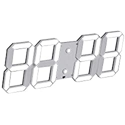 SHSEA Remote Control Large Digital Wall Clocks,Multi-function Alarm Clock with Date, Temperature, Countdown for Home (white)