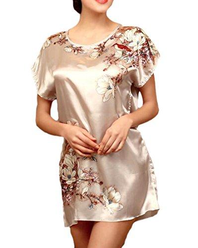 Cromoncent Robes Pour Femmes De Sommeil Confort Rétro Chemises De Nuit Sexy Chemises De Nuit Gris Imprimé