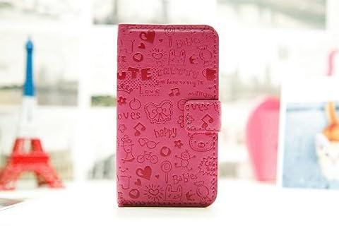 Lucky girl Magic Girl Cute lovely Little Witch Flip Pouch Cover PU Leather Skin Case Cover for LG Mobile Cell Phone 2 (L86c L86G LG Splendor/Venice /L86c/Optimus/US730, rose(dark (Phone Cases For Lg L86c Optimus)