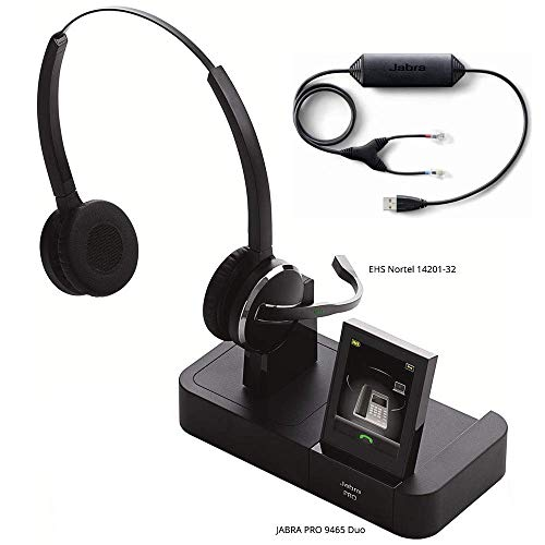 (Jabra PRO 9465 Duo Wireless Headset with EHS Nortel 14201-32 Cable, Bundle for Avaya/Nortel 11 Series IP Phones)