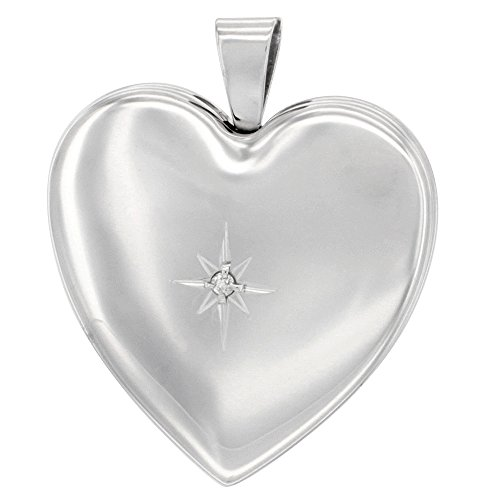 1 inch Sterling Silver Diamond Heart Locket Necklace for Women 4 Picture, 20 inch ()