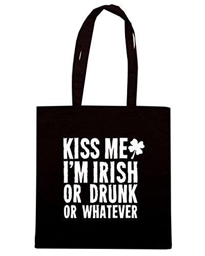 T-Shirtshock - Bolsa para la compra TIR0126 kiss me im irish or drunk or whatever tshirt (1) Negro