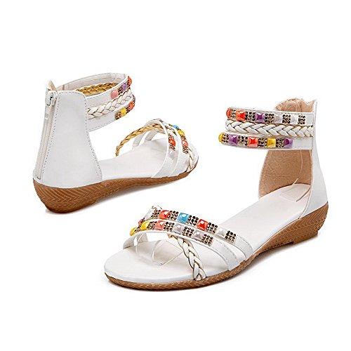 AalarDom Womens Zipper Open-Toe Low-Heels Pu Solid Sandals White BNpkll