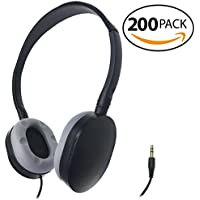 SmithOutlet 200 Pack Rubber Earpad Stereo Headphones in Bulk