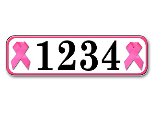 (Pink Ribbon, Highly Reflective Address Plate, Curb House or Mailbox)
