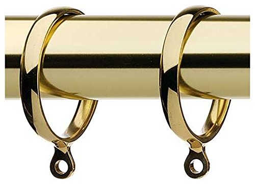 Jubilee Pack 6 Integra Solid Brass Metal Curtain Pole Rings - For 25mm Pole