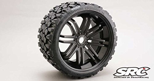 (Sweep RC Monster Truck Terrain Crusher Belted Tire Preglued on Black Wheel (2pc))