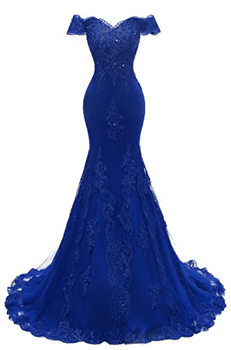 Himoda Women's V Neckline Beaded Evening Gowns Mermaid Lace Prom Dresses Long H074 2 Royal Blue