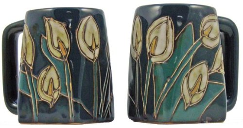 One (1) MARA STONEWARE COLLECTION - 12 Oz Coffee Cup Collectible Square Bottom Dinner Mug - Lily Flowers ()