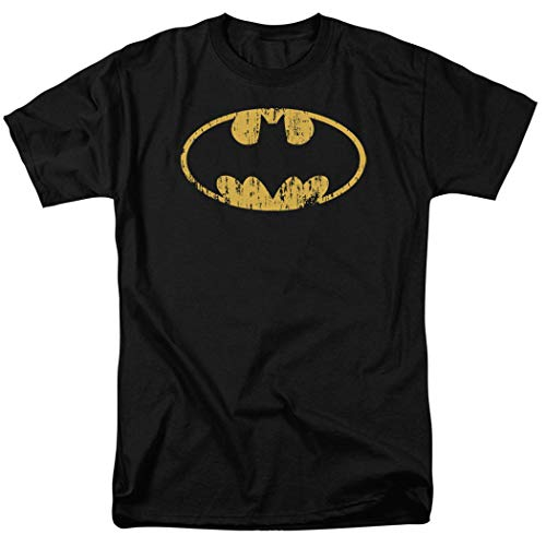 (Batman Logo Distressed DC Comics T Shirt & Exclusive Stickers (Large))