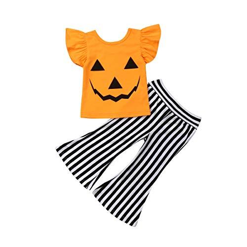 Saints Cheerleader Outfit Halloween (Baby Girls Halloween Outfits Short Sleeve Pumpkin Cotton T-Shirt Tops + Spirit Striped Pants Infant Toddler Clothes Set 2Pcs (Orange #2, 4-5)