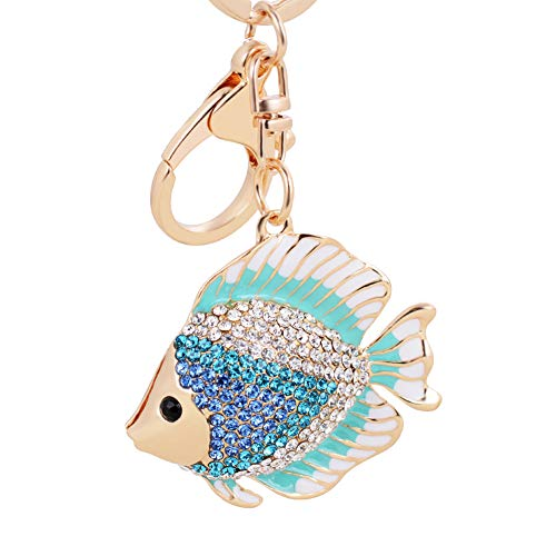 Qinlee Women Wallets Purse Handbag Bag Keyrings Lovely Colored Fish Diamond Crystal Rhinestone Keychain Charm Pendent Beautiful Accessories (Blue) Blue