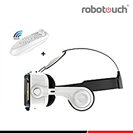 9b1bc1474587 Robotouch Vr Pro Headset 100-120 Degree Fov with Highest Immersive  Experience Inbuilt Headphones and Bluetooth Controller (White)  Amazon.in   Electronics