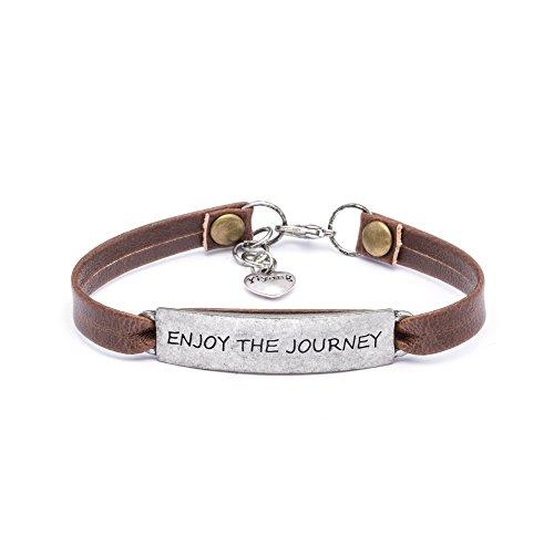 Yiyang Graduation Gift Bracelet Jewellery for Women Vintage Antique Vacation Leather Bracelet Engraved Enjoy The -