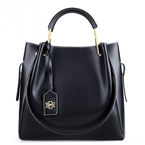 Clubs Shoulder Large Handle Top Solid For Bag Handbags Leather Color Capacity Black Bags Genuine Party Wedding AqFE7fwA